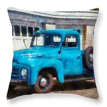 Car - Truck - An International Old Truck Throw Pillow by Mike Savad