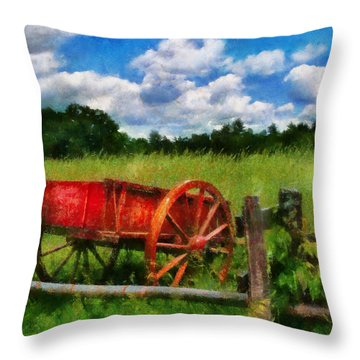 Car - Wagon - The Old Wagon Cart Throw Pillow by Mike Savad