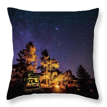 Car Camping Throw Pillow