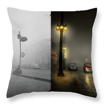 Throw Pillow featuring the photograph Car - Down A Lonely Road 1940 - Side By Side by Mike Savad