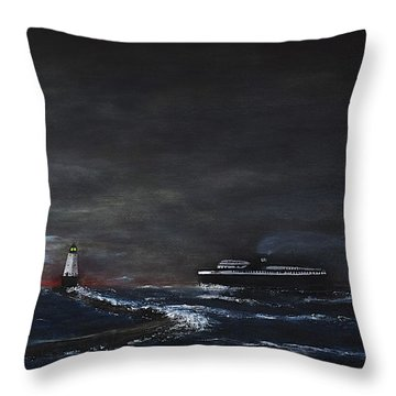 Car Ferry Badger November Crossing Throw Pillow by Dick Bourgault