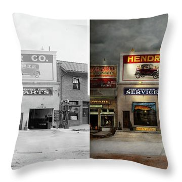 Throw Pillow featuring the photograph Car - Garage - Hendricks Motor Co 1928 - Side By Side by Mike Savad