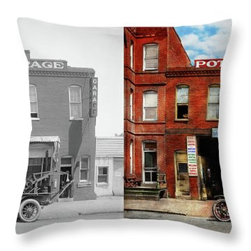 Throw Pillow featuring the photograph Car - Garage - Misfit Garage 1922 - Side By Side by Mike Savad