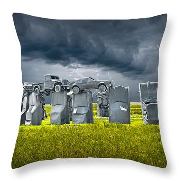 Car Henge In Alliance Nebraska After England's Stonehenge Throw Pillow