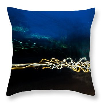 Car Light Trails At Dusk In City Throw Pillow