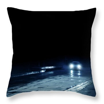 Car On A Rainy Highway At Night Throw Pillow by Jill Battaglia