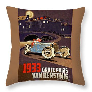 Car Racing Christmas Poster Of The 30s Throw Pillow