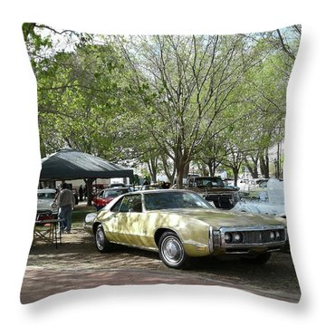 Throw Pillow featuring the pyrography Car Show Saturday by Jack Pumphrey