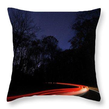 Car Trails Throw Pillow