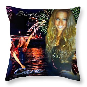 Cara Earth Angels Birthday Throw Pillow by Glenn Feron