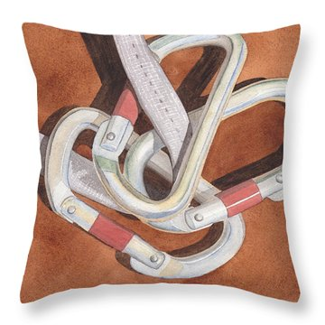 Carabiners Throw Pillow by Ken Powers