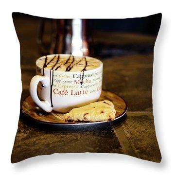 Caramel Macchiato With Scone Throw Pillow