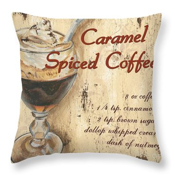 Caramel Spiced Coffee Throw Pillow by Debbie DeWitt