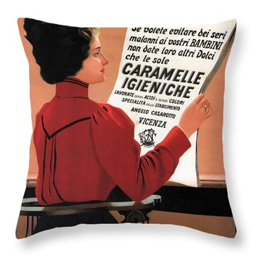 Caramelle Igieniche - Vicenza, Italy - Vintage Advertising Poster Throw Pillow