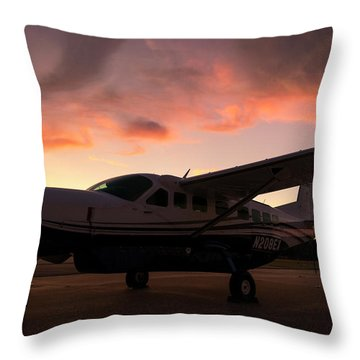 Caravan On The Ramp In The Sunset Throw Pillow