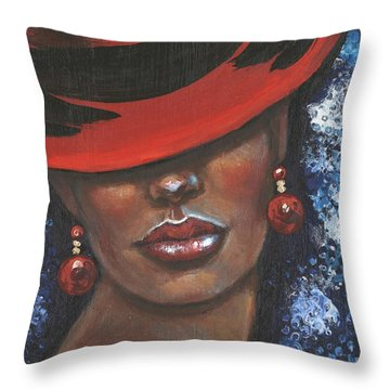 Throw Pillow featuring the painting Carbaret Red by Alga Washington