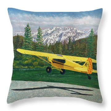Carbon Cub Riverbank Takeoff Throw Pillow