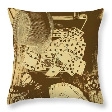 Card Games And Vintage Bets Throw Pillow