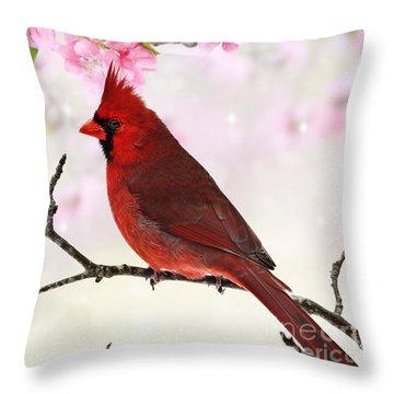 Cardinal Amid Spring Tree Blossoms Throw Pillow