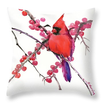 Cardinal And Berries Throw Pillow