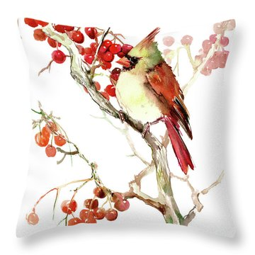 Cardinal Bird And Berries Throw Pillow