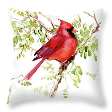 Cardinal Bird Throw Pillow