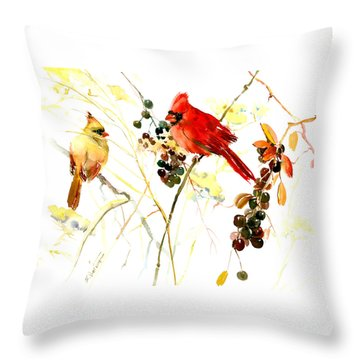 Cardinal Birds And Berries Throw Pillow
