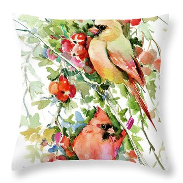 Cardinal Birds And Hawthorn Throw Pillow
