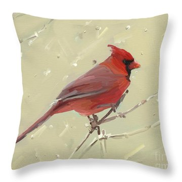 Cardinal Throw Pillow by Carrie Joy Byrnes