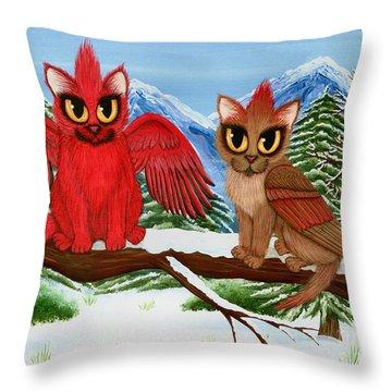 Cardinal Cats Throw Pillow