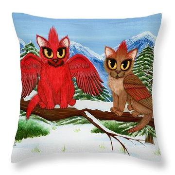 Throw Pillow featuring the painting Cardinal Cats by Carrie Hawks