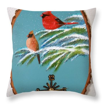 Cardinal Clock Throw Pillow by Al  Johannessen