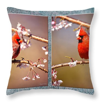 Cardinal Collage Throw Pillow by Angel Cher