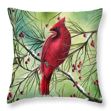 Cardinal Throw Pillow by David G Paul
