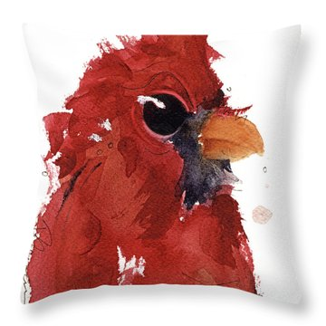 Throw Pillow featuring the painting Cardinal by Dawn Derman