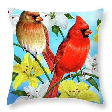 Cardinal Day Throw Pillow by JQ Licensing