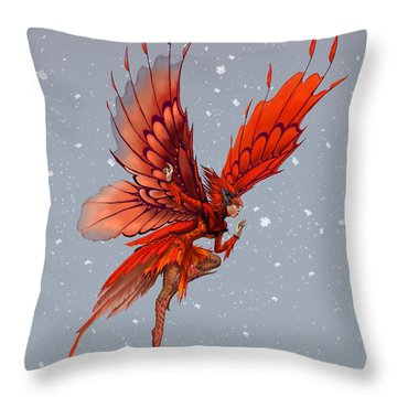 Throw Pillow featuring the digital art Cardinal Fairy by Stanley Morrison