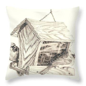 Cardinal Feeder Throw Pillow