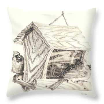 Cardinal Feeder Throw Pillow