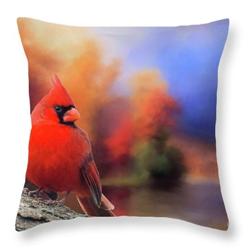 Cardinal In Autumn Throw Pillow by Janette Boyd