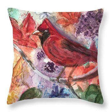 Cardinal In Flowers Throw Pillow