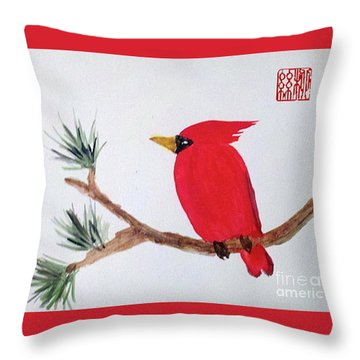 Cardinal In My Backyard Throw Pillow