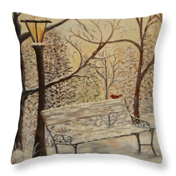 Cardinal In The Snow Throw Pillow by Douglas Ann Slusher