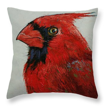 Cardinal Throw Pillow by Michael Creese