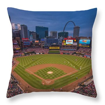 Cardinal Nation Busch Stadium St. Louis Cardinals Twilight 2015 Throw Pillow