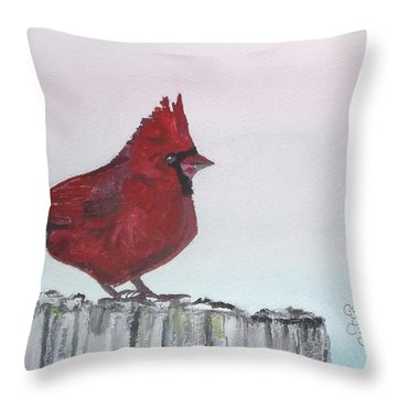Cardinal On A Fence Post Throw Pillow by Carole Robins