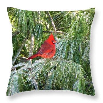 Cardinal On Ice Throw Pillow by John Freidenberg