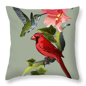 Cardinal On Ivy Branch With Hummingbird And Pink Lily Throw Pillow