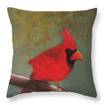Cardinal Throw Pillow by Rich Fotia