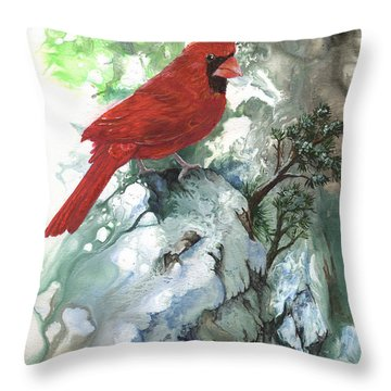 Throw Pillow featuring the painting Cardinal by Sherry Shipley